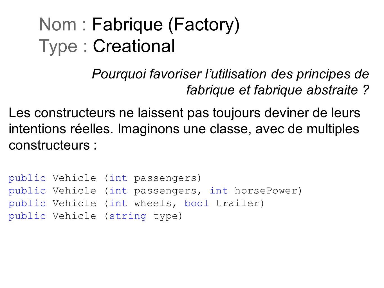 Pourquoi favoriser lutilisation des principes de fabrique et fabrique abstraite ? Nom : Fabrique (Factory) Type : Creational Les constructeurs ne lais