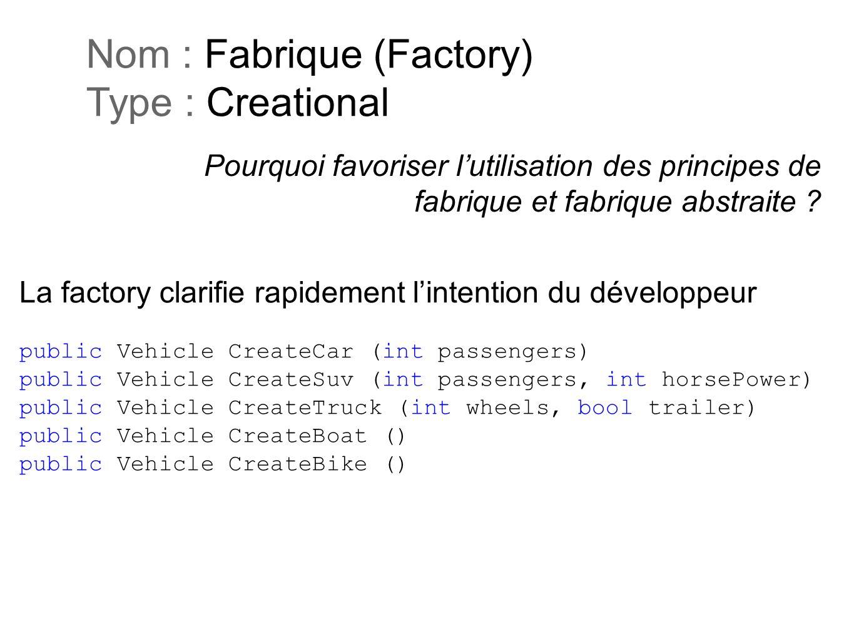 Pourquoi favoriser lutilisation des principes de fabrique et fabrique abstraite ? Nom : Fabrique (Factory) Type : Creational La factory clarifie rapid