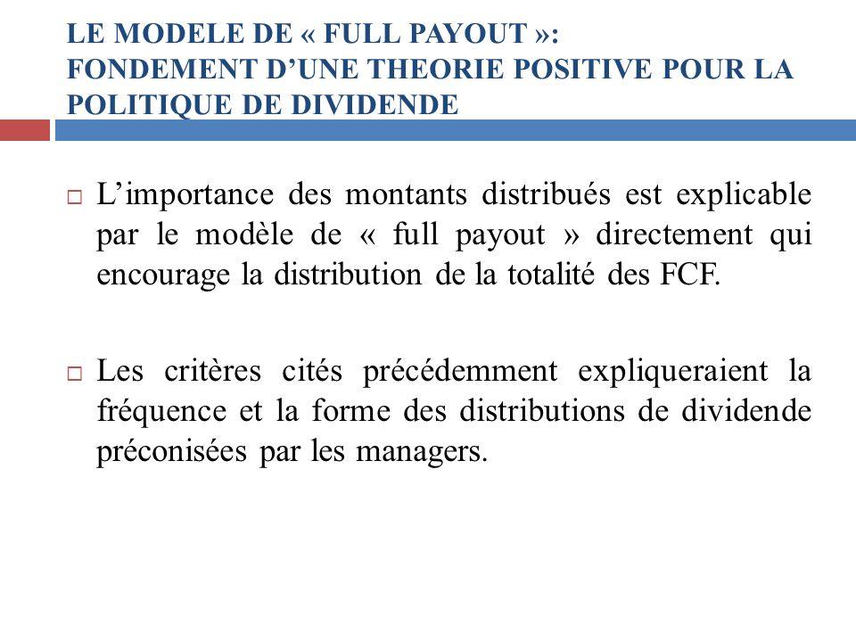 Limportance des montants distribués est explicable par le modèle de « full payout » directement qui encourage la distribution de la totalité des FCF.