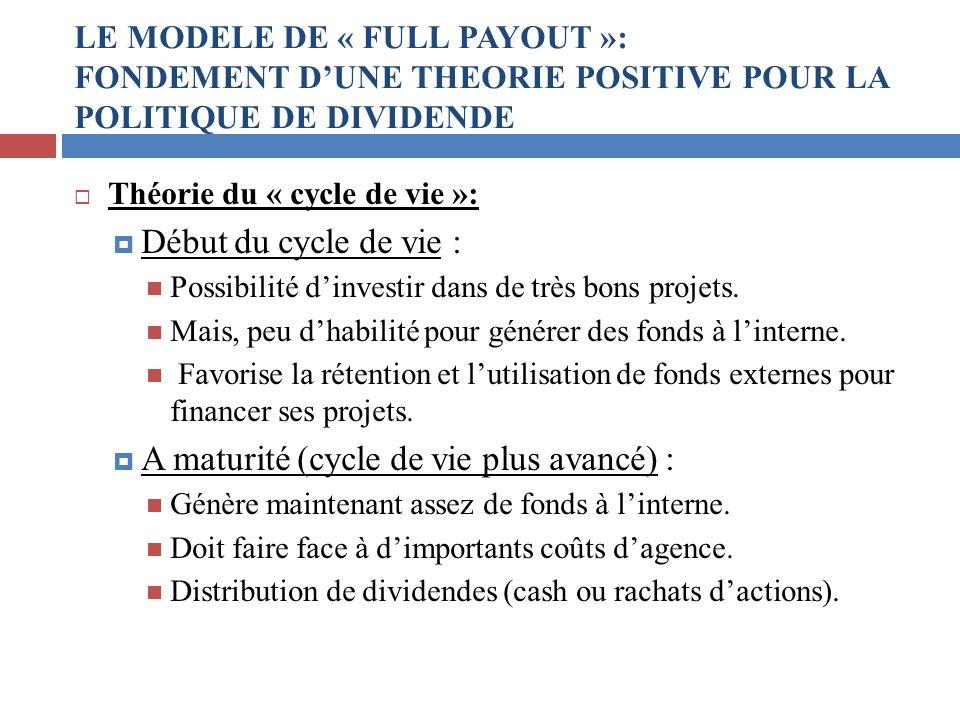 Théorie du « cycle de vie »: Début du cycle de vie : Possibilité dinvestir dans de très bons projets. Mais, peu dhabilité pour générer des fonds à lin