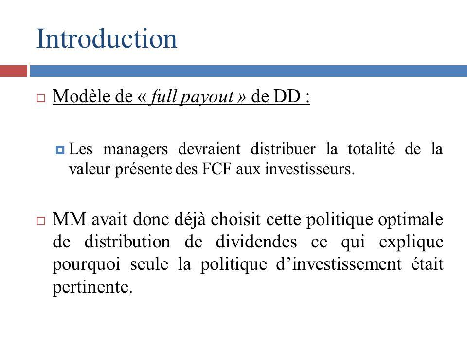Introduction Modèle de « full payout » de DD : Les managers devraient distribuer la totalité de la valeur présente des FCF aux investisseurs. MM avait