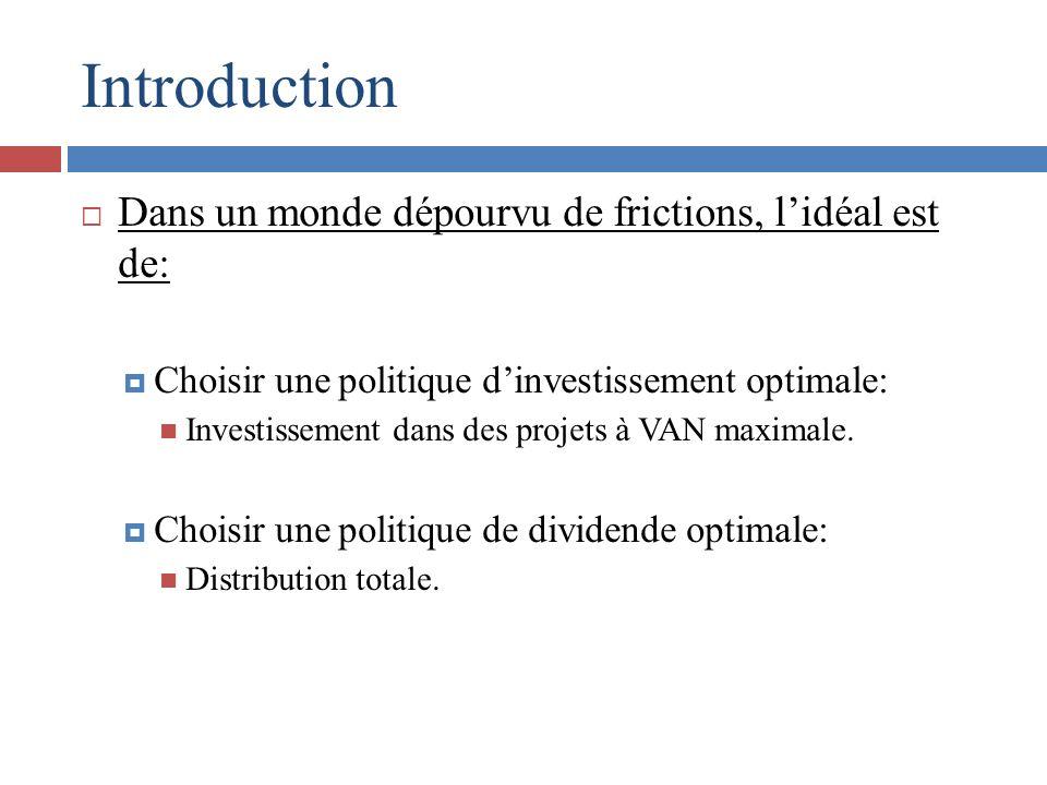 Introduction Dans un monde dépourvu de frictions, lidéal est de: Choisir une politique dinvestissement optimale: Investissement dans des projets à VAN