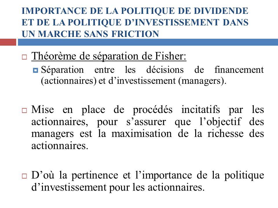 Théorème de séparation de Fisher: Séparation entre les décisions de financement (actionnaires) et dinvestissement (managers). Mise en place de procédé