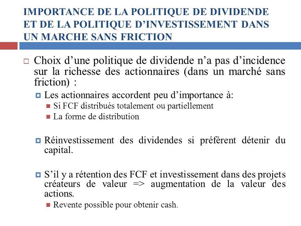 Choix dune politique de dividende na pas dincidence sur la richesse des actionnaires (dans un marché sans friction) : Les actionnaires accordent peu d