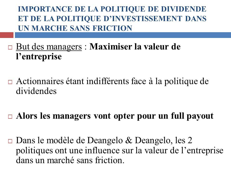 But des managers : Maximiser la valeur de lentreprise Actionnaires étant indifférents face à la politique de dividendes Alors les managers vont opter