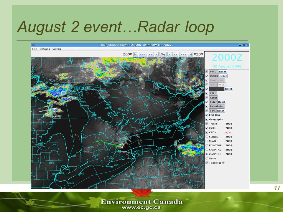 17 August 2 event…Radar loop