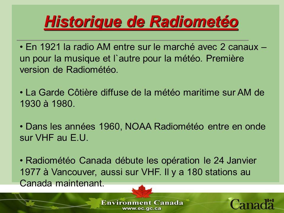 Historique de Radiometéo En 1921 la radio AM entre sur le marché avec 2 canaux – un pour la musique et l`autre pour la météo. Première version de Radi
