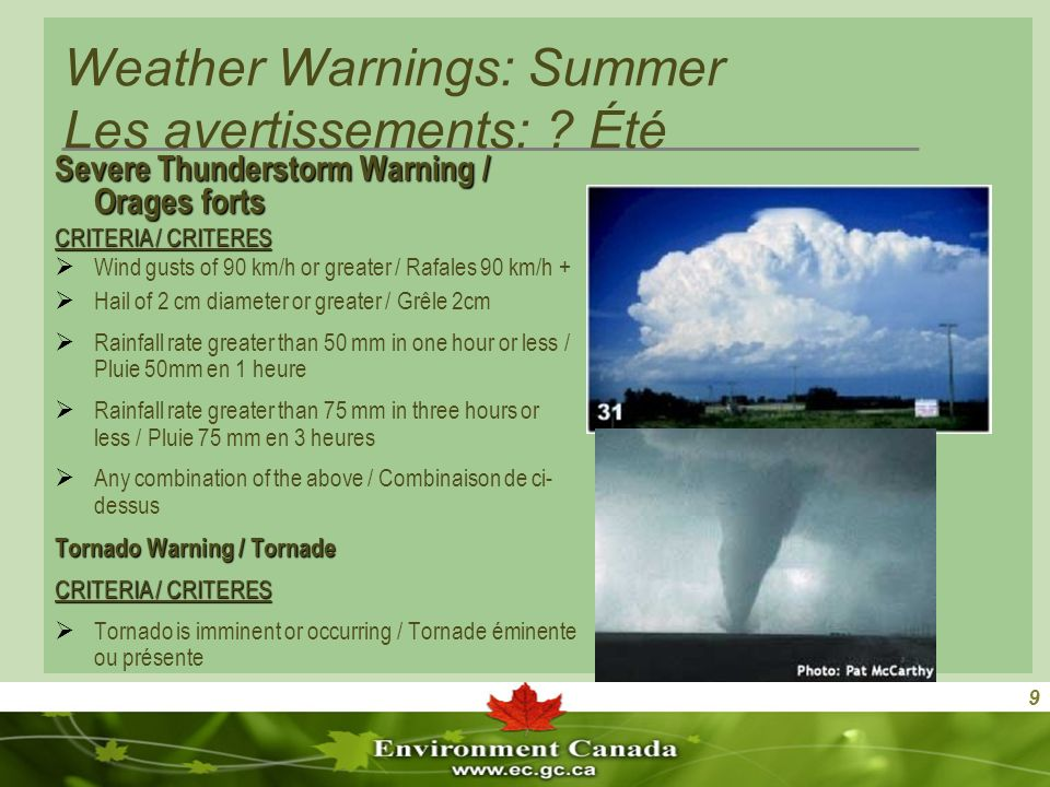 9 Weather Warnings: Summer Les avertissements: .