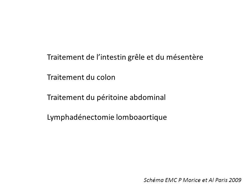 Traitement de lintestin grêle et du mésentère Traitement du colon Traitement du péritoine abdominal Lymphadénectomie lomboaortique Schéma EMC P Morice