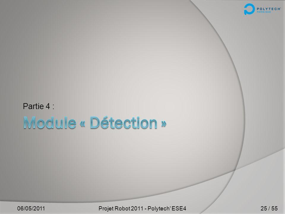 Améliorations Simplification du code Ajout de la localisation du robot 06/05/2011Projet Robot 2011 - Polytech' ESE4 III) Propulsion id Distance Angle