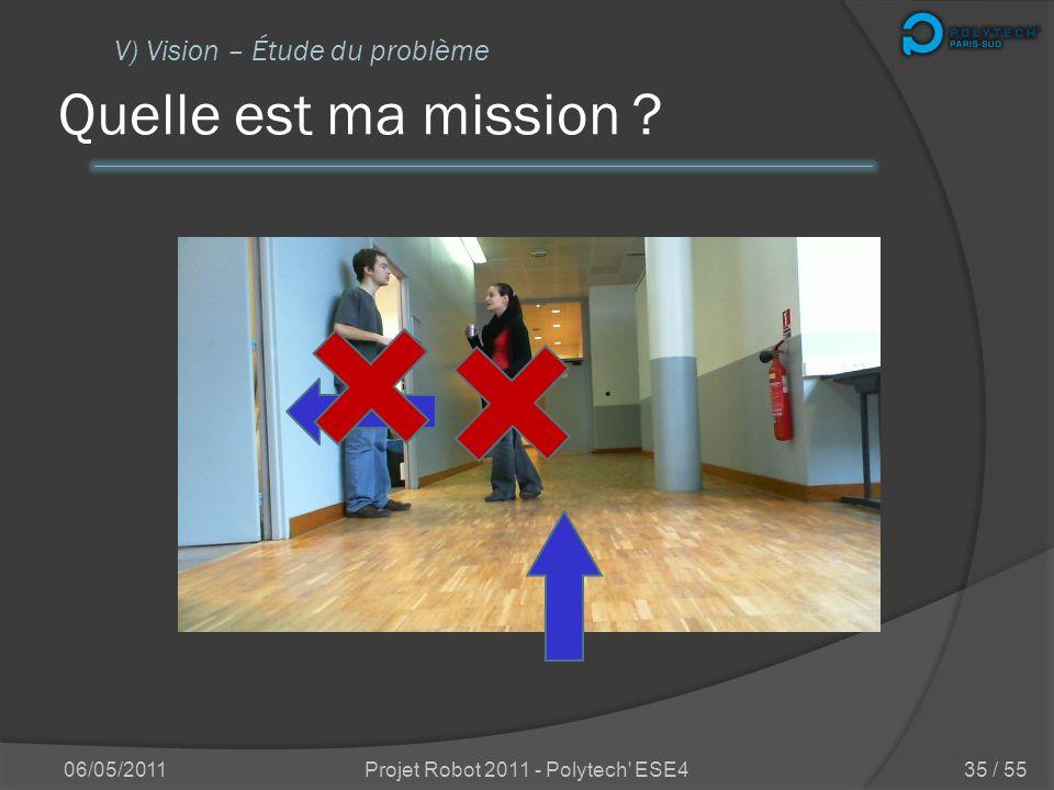 Quelle est ma mission ? 06/05/2011Projet Robot 2011 - Polytech' ESE4 V) Vision – Étude du problème 34 / 55