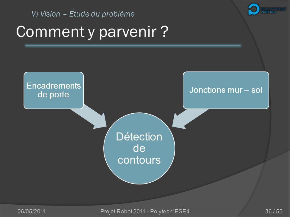 Quelle est ma mission ? 06/05/2011Projet Robot 2011 - Polytech' ESE4 V) Vision – Étude du problème 35 / 55