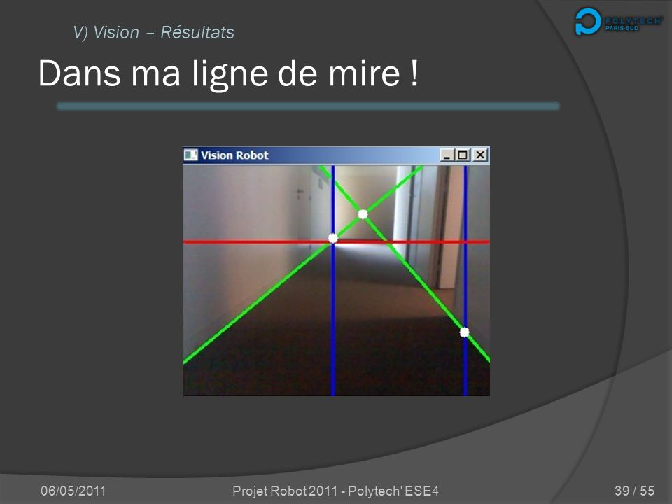 Explications en image 06/05/2011Projet Robot 2011 - Polytech' ESE4 V) Vision – Traitement 38 / 55