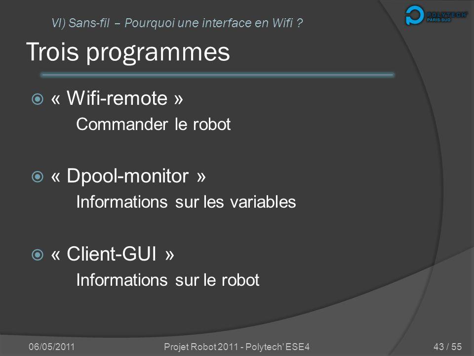 Se connecter en sans-fil Une nouvelle partie dans ce projet Contrôler et « surveiller » le robot à distance => véritable autonomie 06/05/2011Projet Ro