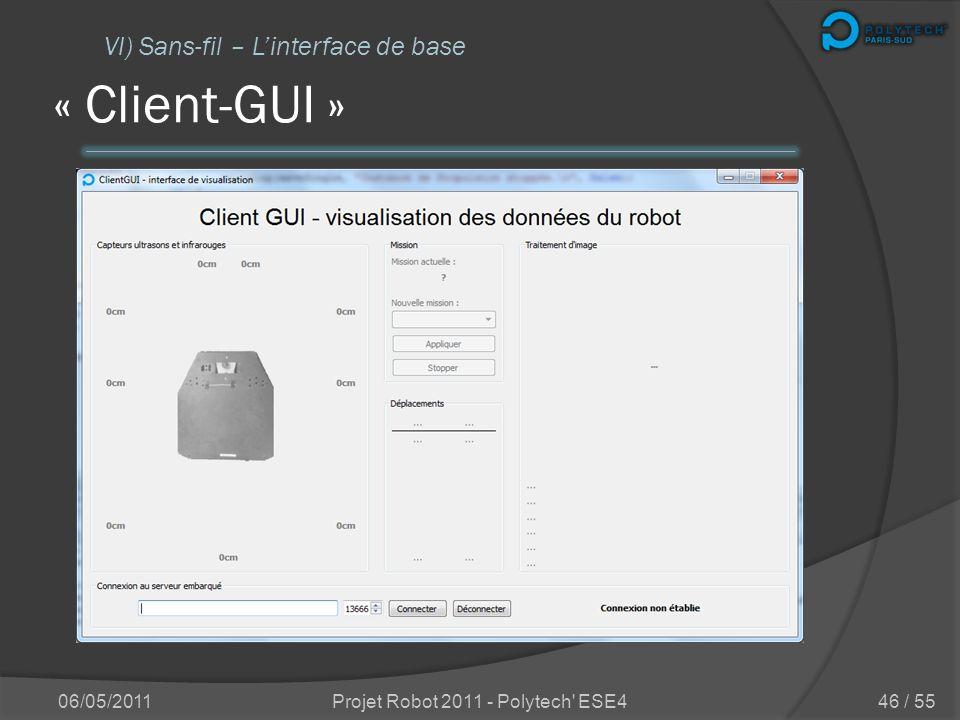 « Dpool-monitor » 06/05/2011Projet Robot 2011 - Polytech' ESE4 VI) Sans-fil – Comment a été intégrée cette partie ? 45 / 55