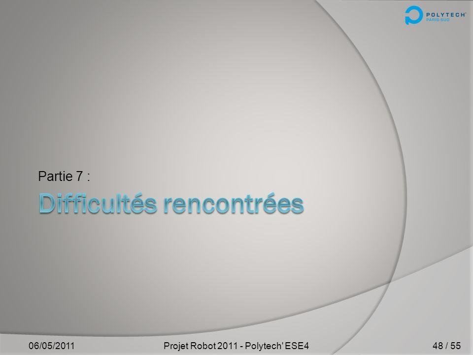 « Client-GUI » 06/05/2011Projet Robot 2011 - Polytech' ESE4 VI) Sans-fil – Linterface de base 47 / 55
