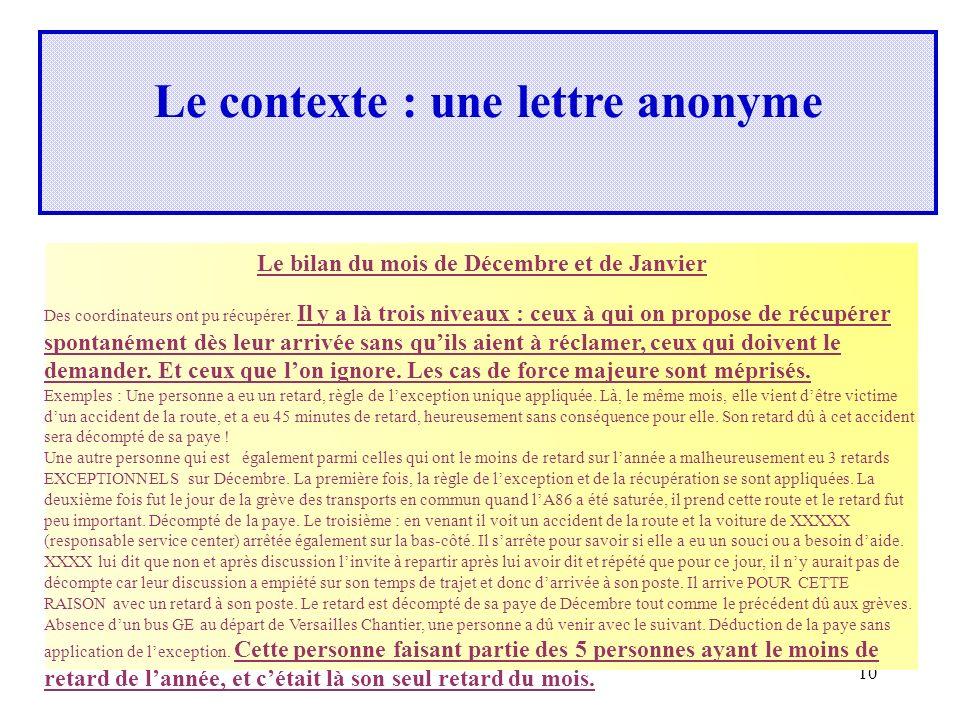 10 Le contexte : une lettre anonyme Le bilan du mois de Décembre et de Janvier Des coordinateurs ont pu récupérer.