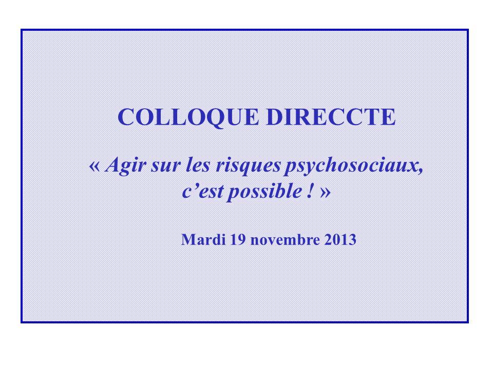 COLLOQUE DIRECCTE « Agir sur les risques psychosociaux, cest possible ! » Mardi 19 novembre 2013