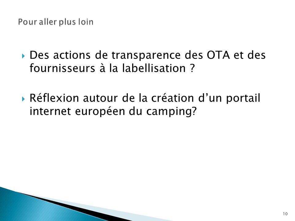 Des actions de transparence des OTA et des fournisseurs à la labellisation ? Réflexion autour de la création dun portail internet européen du camping?