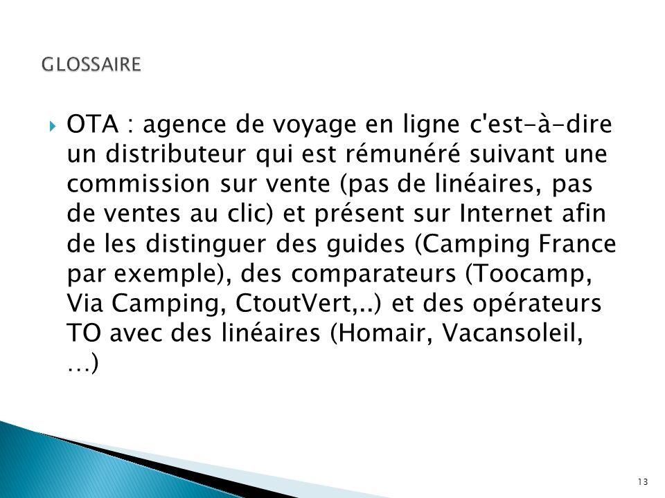 OTA : agence de voyage en ligne c'est-à-dire un distributeur qui est rémunéré suivant une commission sur vente (pas de linéaires, pas de ventes au cli