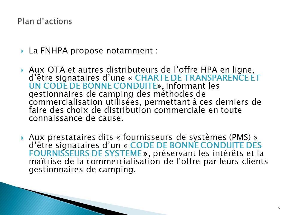La FNHPA propose notamment : Aux OTA et autres distributeurs de loffre HPA en ligne, dêtre signataires dune « CHARTE DE TRANSPARENCE ET UN CODE DE BON