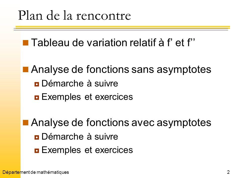 2Département de mathématiques Plan de la rencontre Tableau de variation relatif à f et f Analyse de fonctions sans asymptotes Démarche à suivre Exempl
