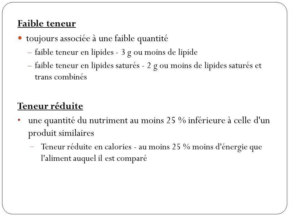 Faible teneur toujours associée à une faible quantité – faible teneur en lipides - 3 g ou moins de lipide – faible teneur en lipides saturés - 2 g ou