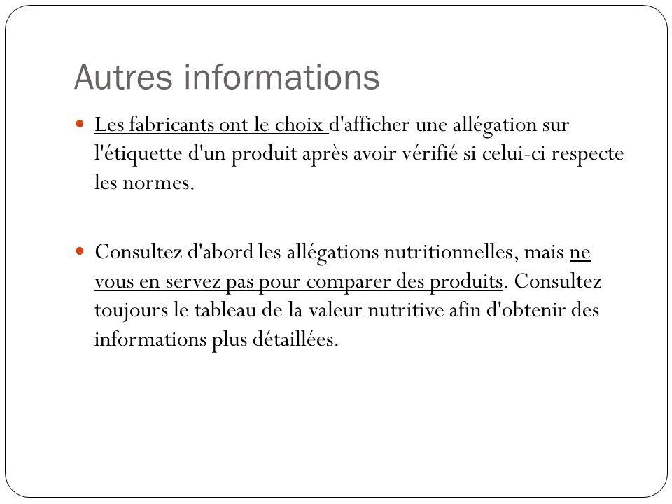 Autres informations Les fabricants ont le choix d'afficher une allégation sur l'étiquette d'un produit après avoir vérifié si celui-ci respecte les no