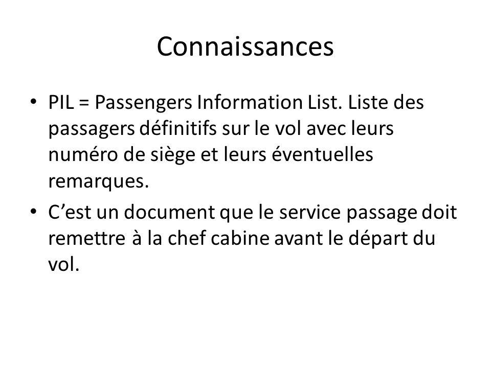 Connaissances PIL = Passengers Information List. Liste des passagers définitifs sur le vol avec leurs numéro de siège et leurs éventuelles remarques.