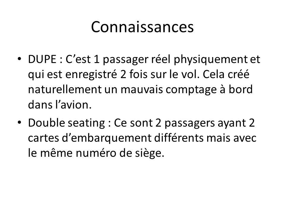 Connaissances DUPE : Cest 1 passager réel physiquement et qui est enregistré 2 fois sur le vol. Cela créé naturellement un mauvais comptage à bord dan