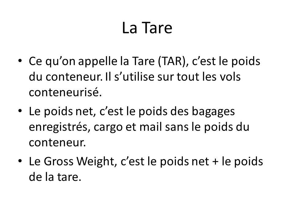 La Tare Ce quon appelle la Tare (TAR), cest le poids du conteneur. Il sutilise sur tout les vols conteneurisé. Le poids net, cest le poids des bagages