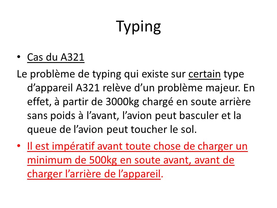 Typing Cas du A321 Le problème de typing qui existe sur certain type dappareil A321 relève dun problème majeur. En effet, à partir de 3000kg chargé en
