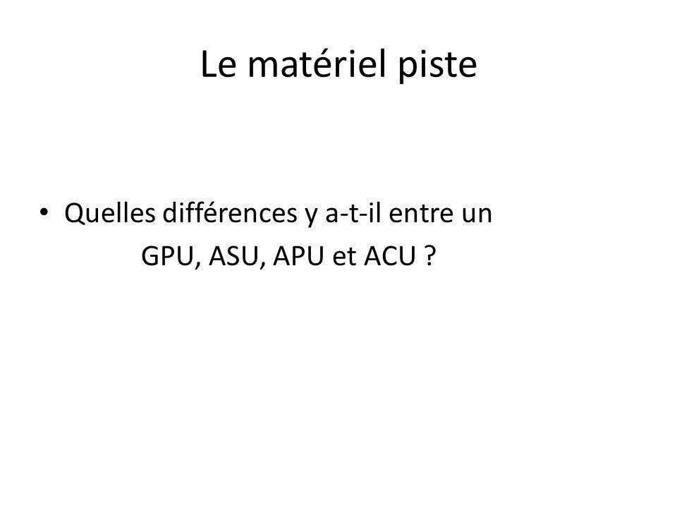 Le matériel piste Quelles différences y a-t-il entre un GPU, ASU, APU et ACU ?