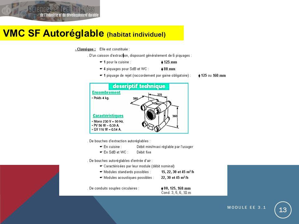 VMC SF Autoréglable (habitat individuel) MODULE EE 3.1 13