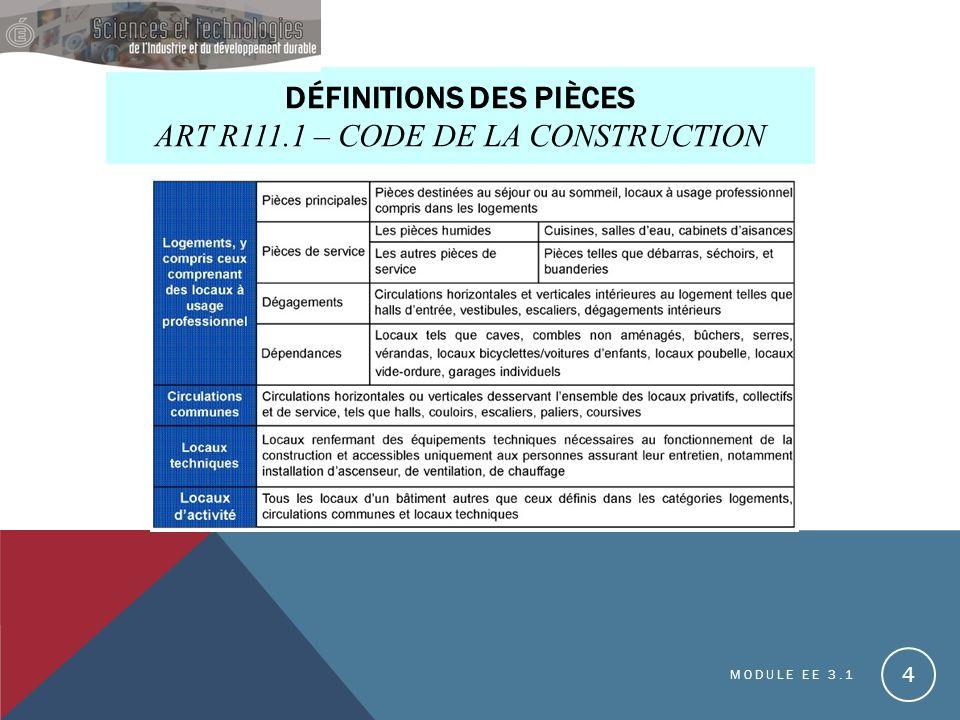DÉFINITIONS DES PIÈCES ART R111.1 – CODE DE LA CONSTRUCTION MODULE EE 3.1 4