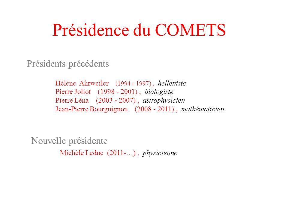 Présidence du COMETS Présidents précédents Hélène Ahrweiler (1994 - 1997), helléniste Pierre Joliot (1998 - 2001), biologiste Pierre Léna (2003 - 2007
