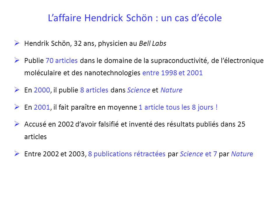 Laffaire Hendrick Schön : un cas décole Hendrik Schön, 32 ans, physicien au Bell Labs Publie 70 articles dans le domaine de la supraconductivité, de l