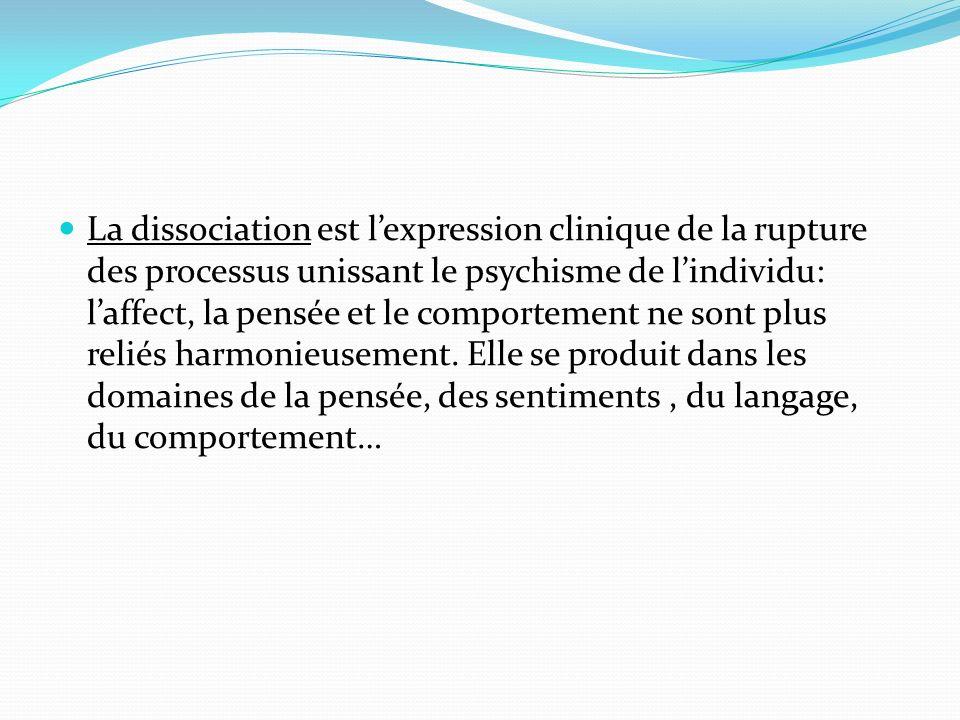 La dissociation est lexpression clinique de la rupture des processus unissant le psychisme de lindividu: laffect, la pensée et le comportement ne sont