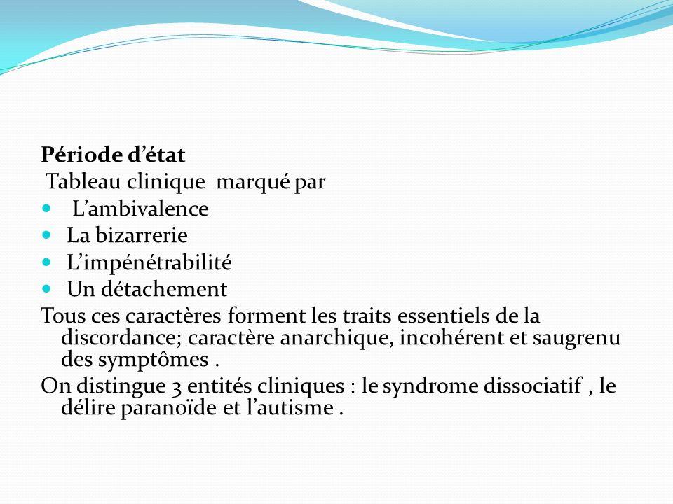 Période détat Tableau clinique marqué par Lambivalence La bizarrerie Limpénétrabilité Un détachement Tous ces caractères forment les traits essentiels