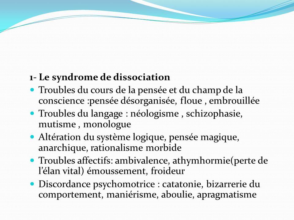1- Le syndrome de dissociation Troubles du cours de la pensée et du champ de la conscience :pensée désorganisée, floue, embrouillée Troubles du langag