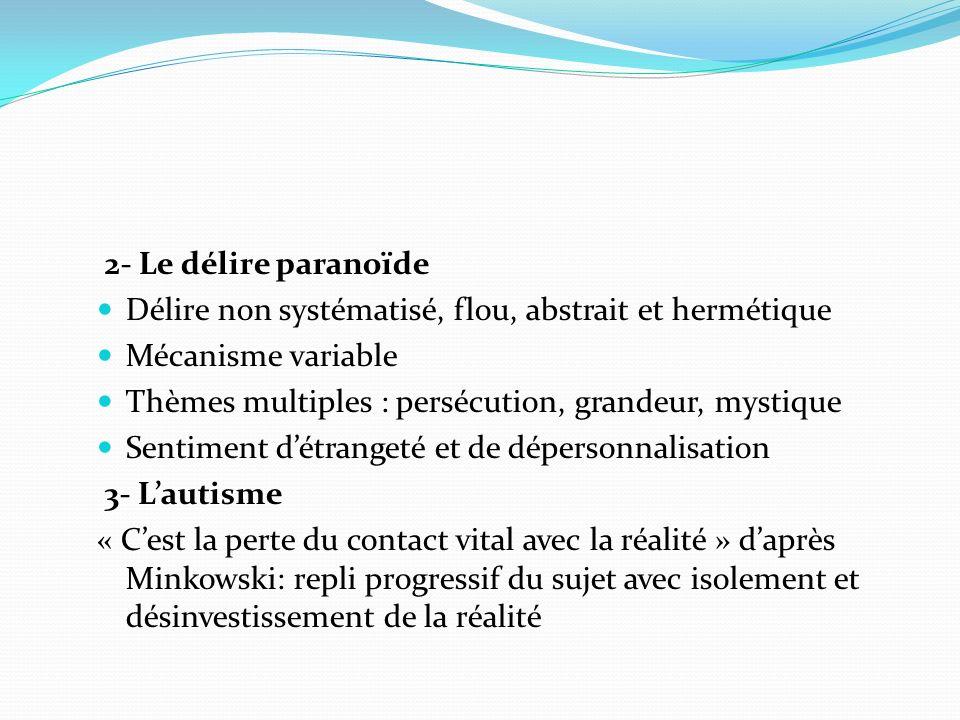 2- Le délire paranoïde Délire non systématisé, flou, abstrait et hermétique Mécanisme variable Thèmes multiples : persécution, grandeur, mystique Sent