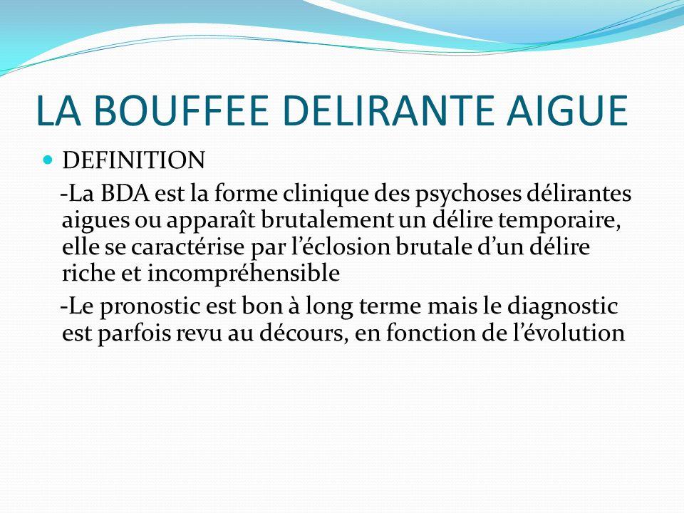 LA BOUFFEE DELIRANTE AIGUE DEFINITION -La BDA est la forme clinique des psychoses délirantes aigues ou apparaît brutalement un délire temporaire, elle