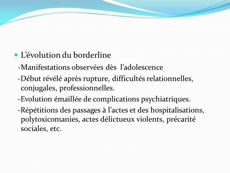 Lévolution du borderline -Manifestations observées dès ladolescence -Début révélé après rupture, difficultés relationnelles, conjugales, professionnel