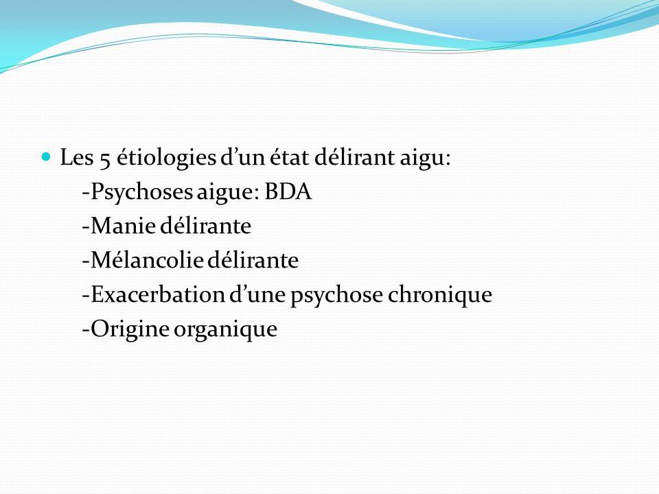 Les 5 étiologies dun état délirant aigu: -Psychoses aigue: BDA -Manie délirante -Mélancolie délirante -Exacerbation dune psychose chronique -Origine o