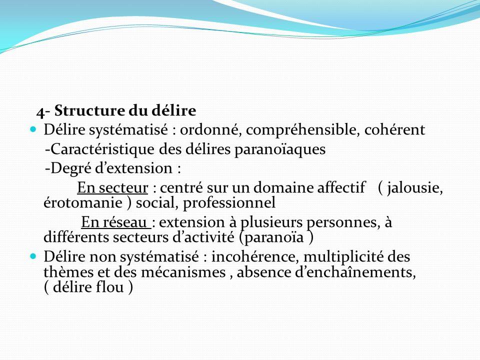 4- Structure du délire Délire systématisé : ordonné, compréhensible, cohérent -Caractéristique des délires paranoïaques -Degré dextension : En secteur
