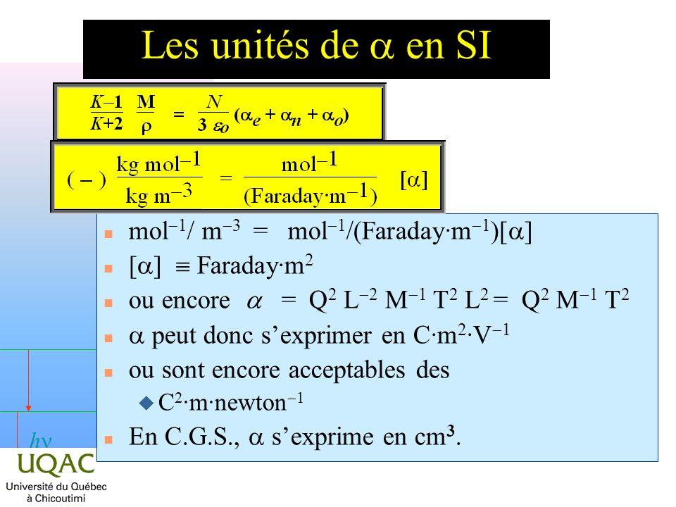 h Les unités de en SI mol 1 / m 3 = mol 1 /(Faraday·m 1 )[ ] [ ] Faraday·m 2 ou encore = Q 2 L 2 M 1 T 2 L 2 = Q 2 M 1 T 2 peut donc sexprimer en C·m 2 ·V 1 n ou sont encore acceptables des C 2 ·m·newton 1 En C.G.S., sexprime en cm 3.