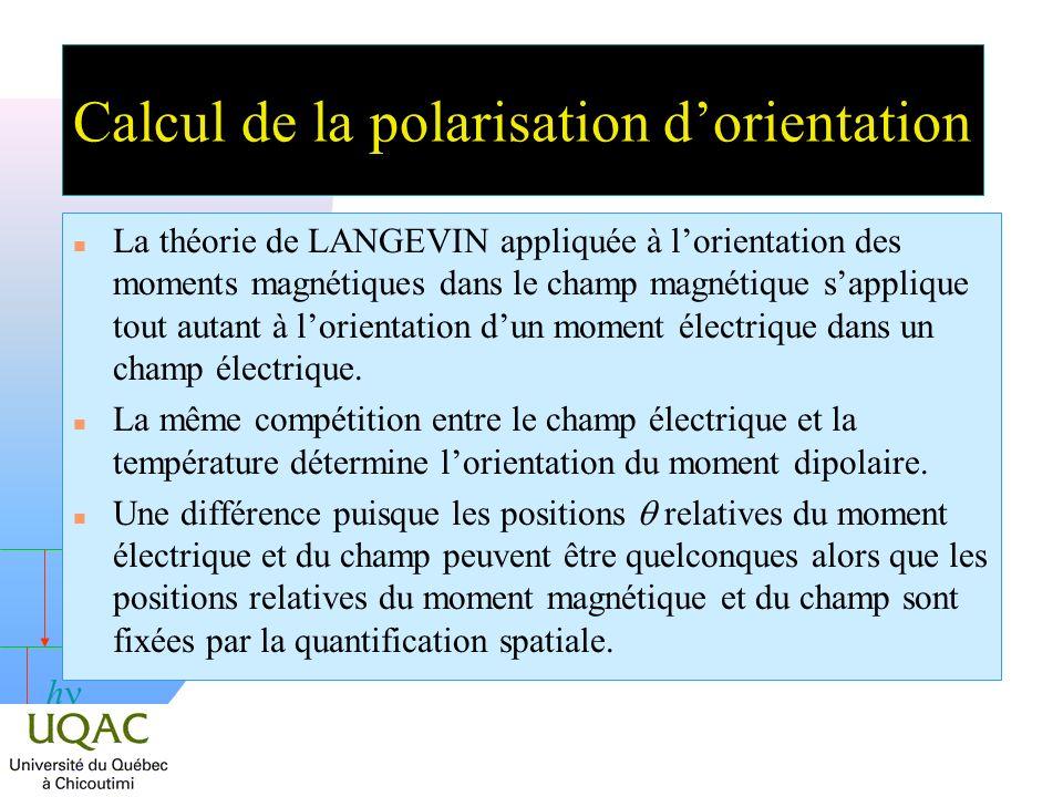 h Calcul de la polarisation dorientation n La théorie de LANGEVIN appliquée à lorientation des moments magnétiques dans le champ magnétique sapplique tout autant à lorientation dun moment électrique dans un champ électrique.