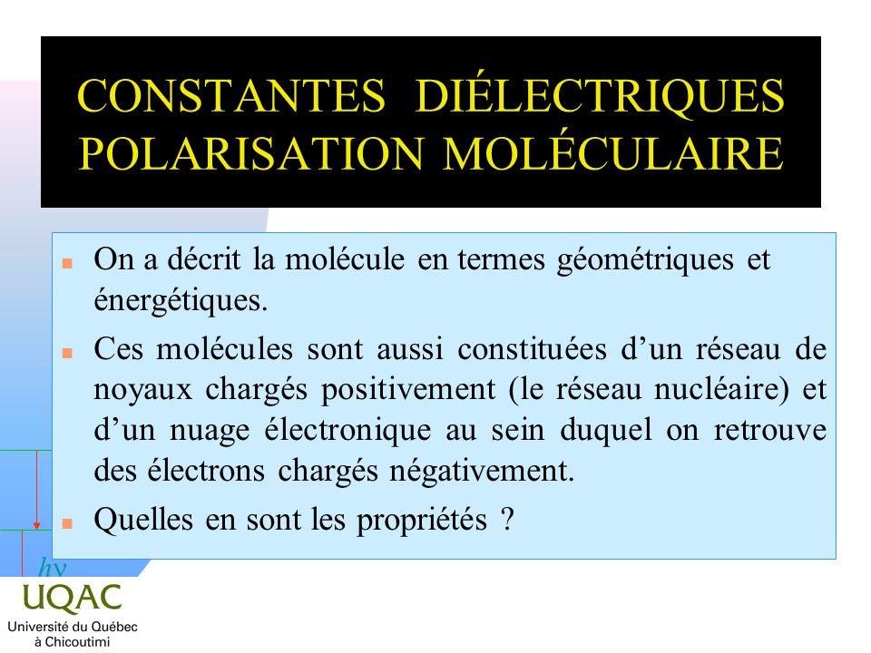 h CONSTANTES DIÉLECTRIQUES POLARISATION MOLÉCULAIRE On a décrit la molécule en termes géométriques et énergétiques. n Ces molécules sont aussi constit