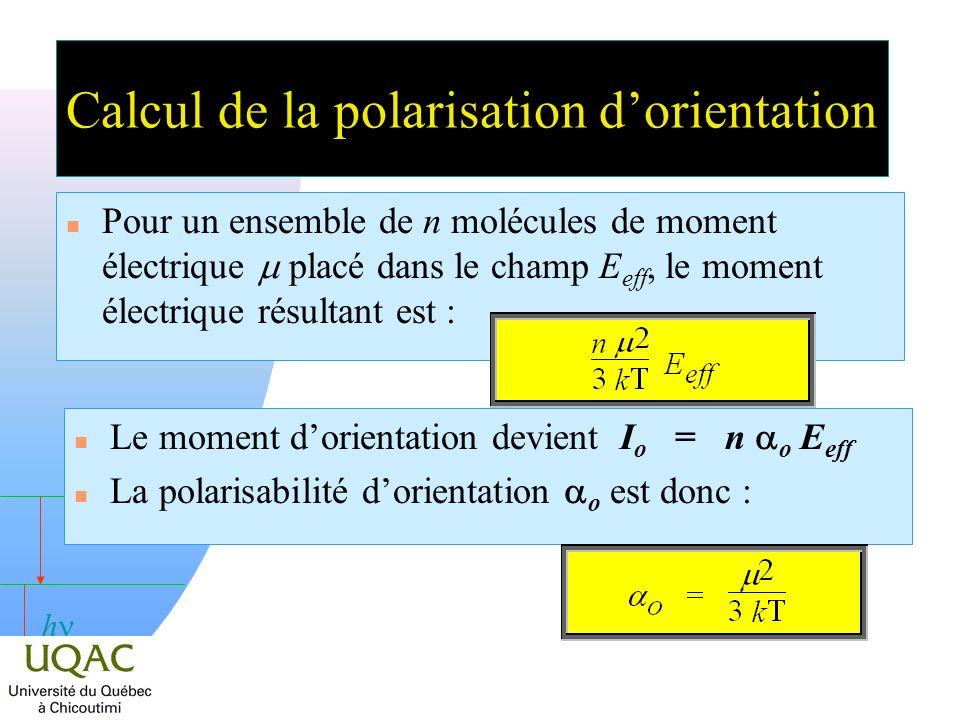 h Pour un ensemble de n molécules de moment électrique placé dans le champ E eff, le moment électrique résultant est : Le moment dorientation devient I o = n o E eff La polarisabilité dorientation o est donc : Calcul de la polarisation dorientation