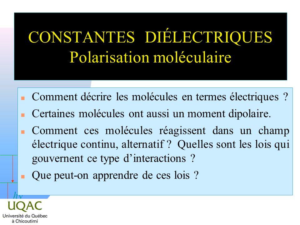 h CONSTANTES DIÉLECTRIQUES Polarisation moléculaire Comment décrire les molécules en termes électriques ? n Certaines molécules ont aussi un moment di